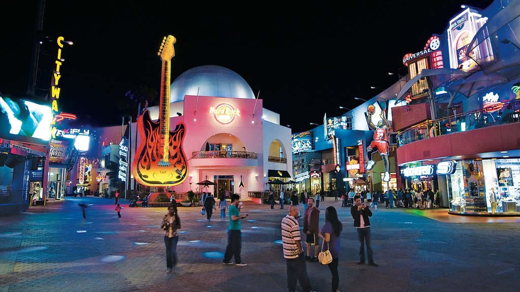 Universal City featuring nightlife, night scenes and rides