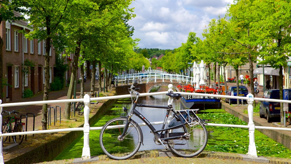 The Hague showing street scenes, road cycling and a river or creek