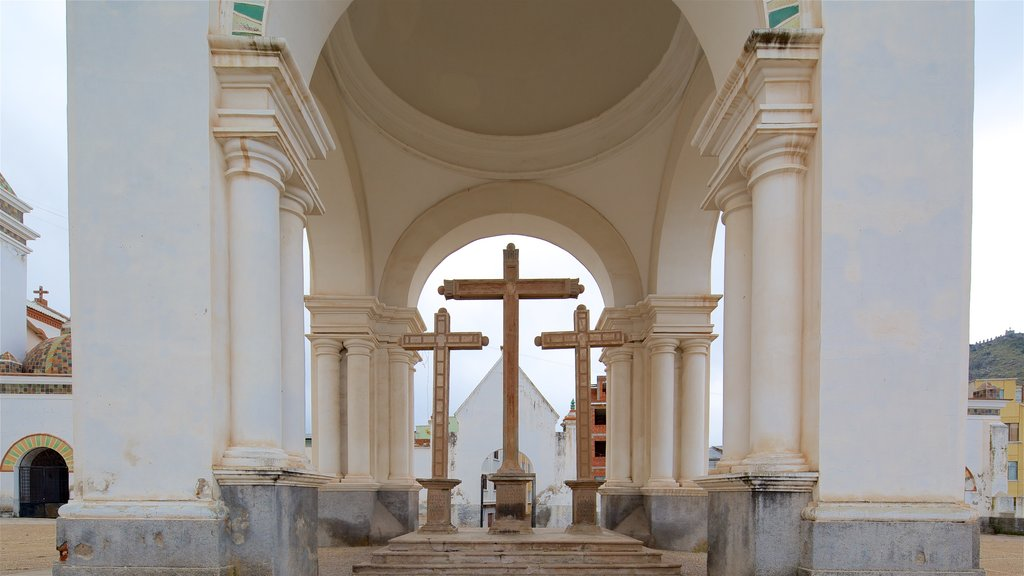 Copacabana which includes religious aspects and a monument