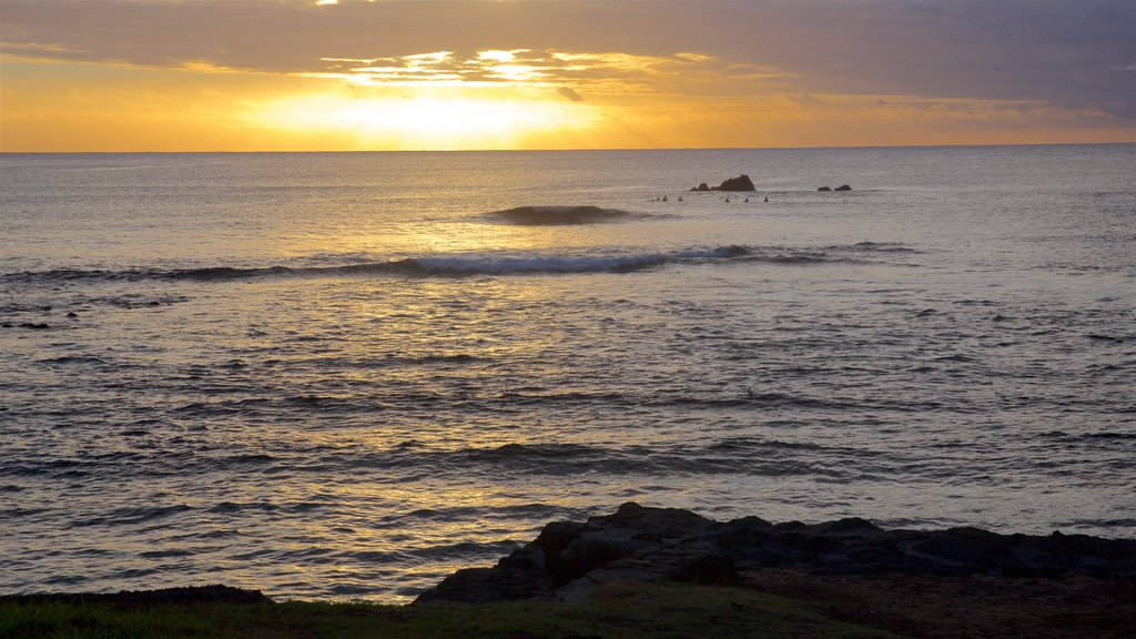 Easter Island which includes a sunset and general coastal views