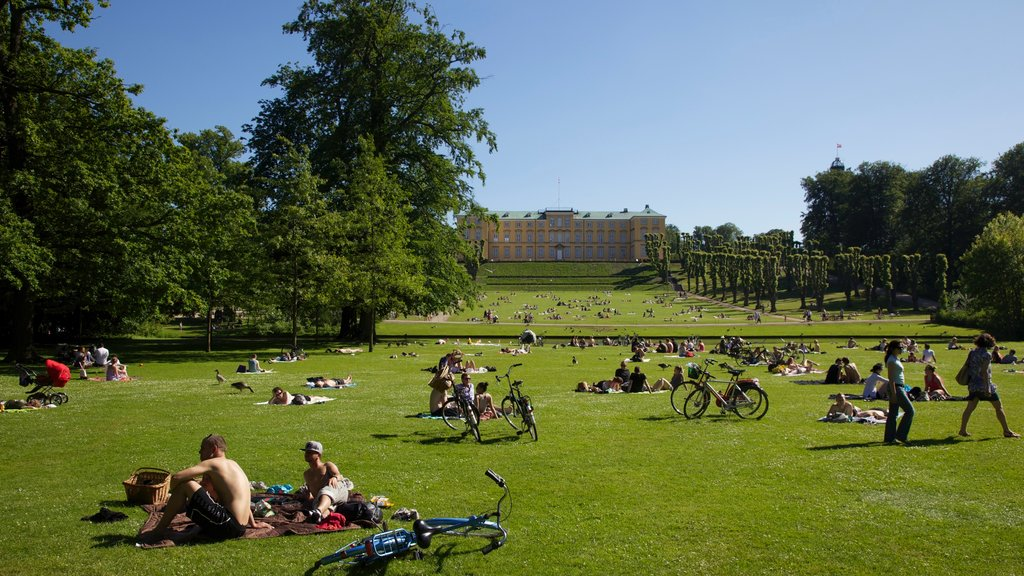 Frederiksberg showing a garden as well as a large group of people