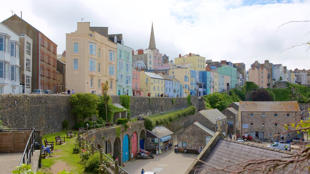 Tenby which includes heritage elements and a coastal town