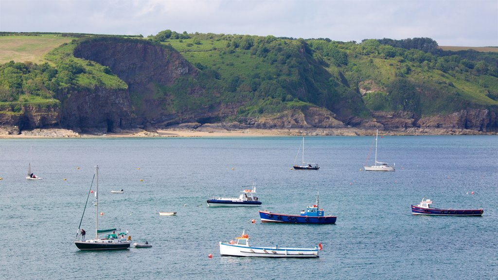 Tenby showing rocky coastline, a bay or harbor and tranquil scenes