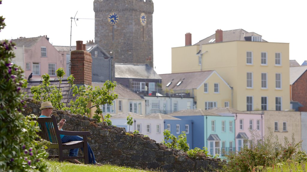 Tenby featuring heritage elements and a coastal town as well as an individual male