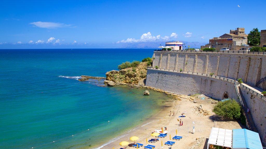 Castellammare del Golfo showing a beach, rocky coastline and tropical scenes