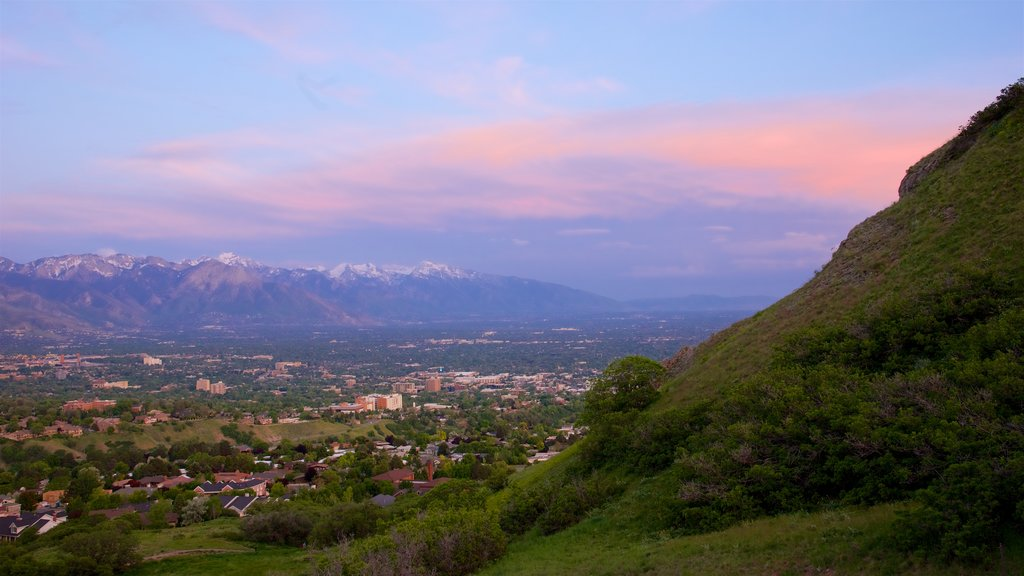 Salt Lake City which includes tranquil scenes and a sunset
