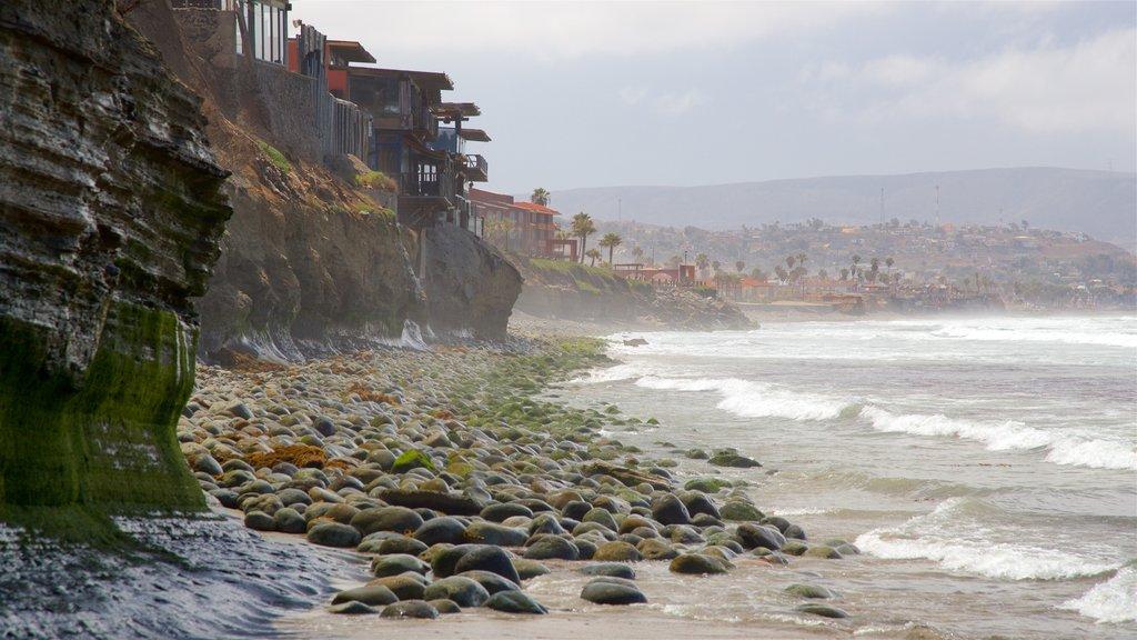 Rosarito showing general coastal views, rocky coastline and mist or fog