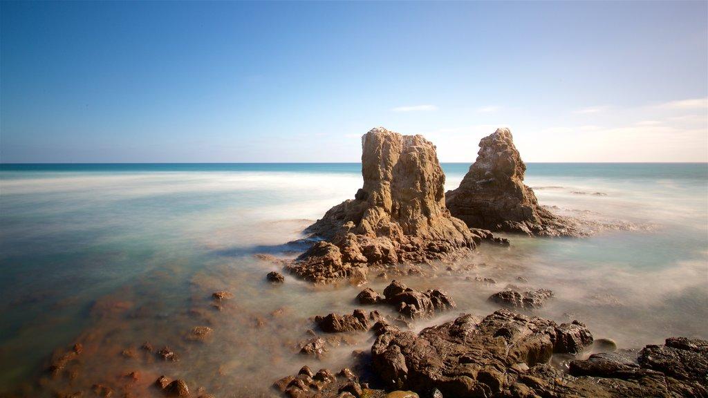 Rosarito which includes general coastal views and rocky coastline
