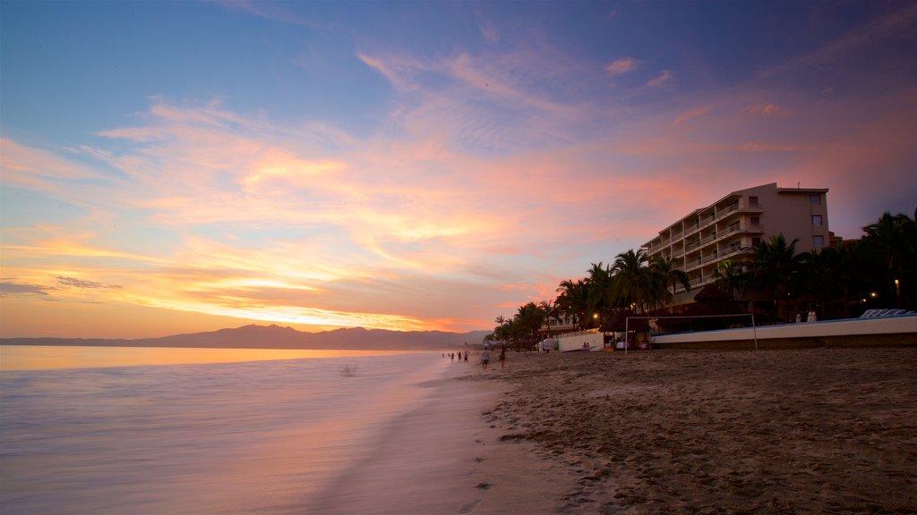 Nuevo Vallarta Beach which includes general coastal views, a sunset and a sandy beach