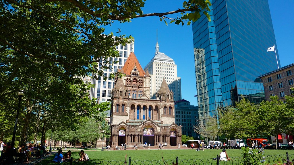 Copley Square which includes a square or plaza, a high rise building and heritage architecture