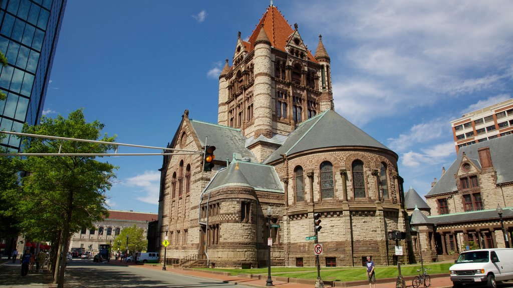 Copley Square which includes heritage architecture, a city and a castle