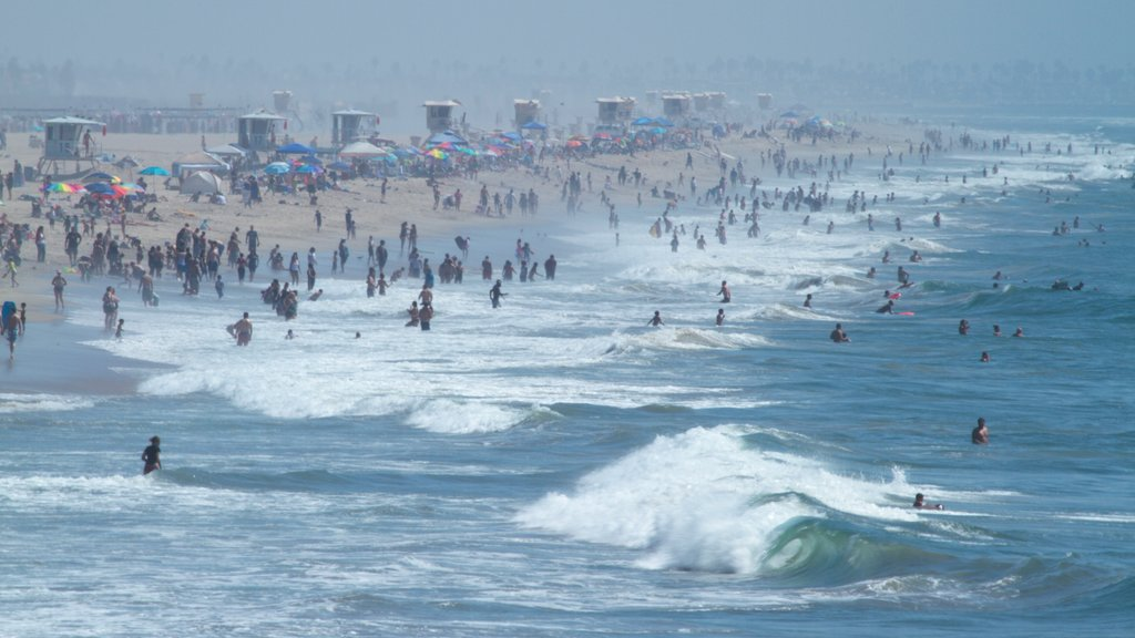 Huntington Beach which includes landscape views, surf and swimming