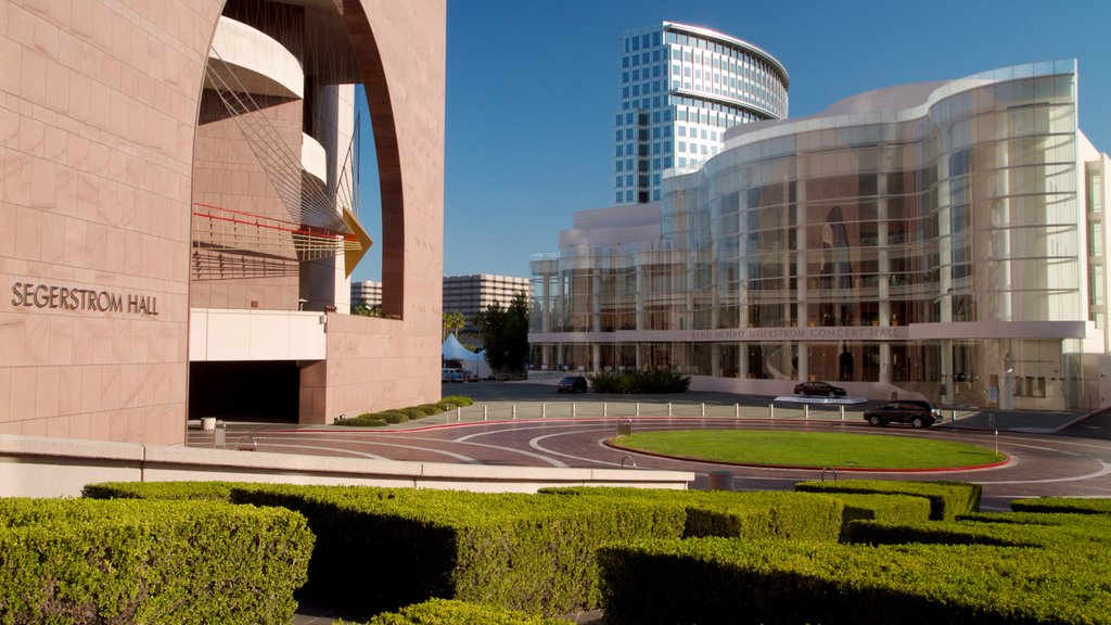 Segerstrom Center for the Arts which includes modern architecture, a square or plaza and a city