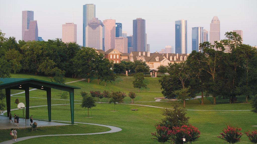 Houston which includes a city, a skyscraper and landscape views