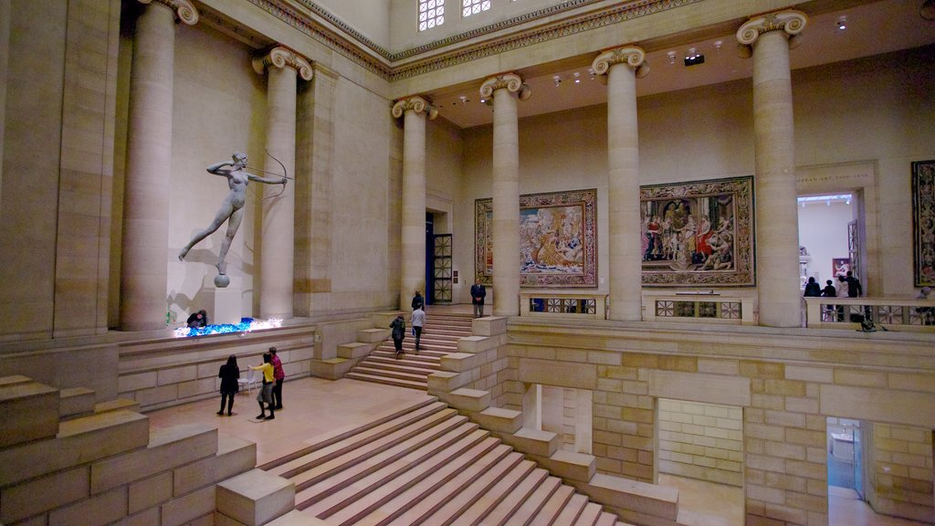 Philadelphia featuring interior views and a statue or sculpture
