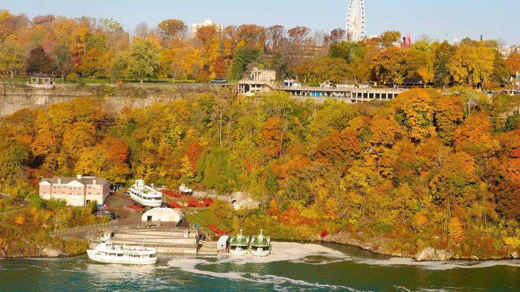 Niagara Falls mostrando paseos en lancha, vistas de paisajes y los colores del otoño