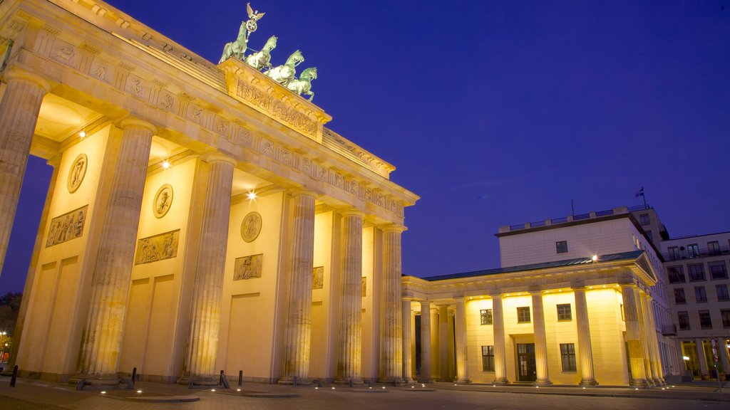 Brandenburg Gate featuring a city, heritage architecture and night scenes