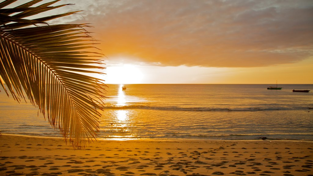 Yasawa Islands featuring a beach, tropical scenes and a sunset
