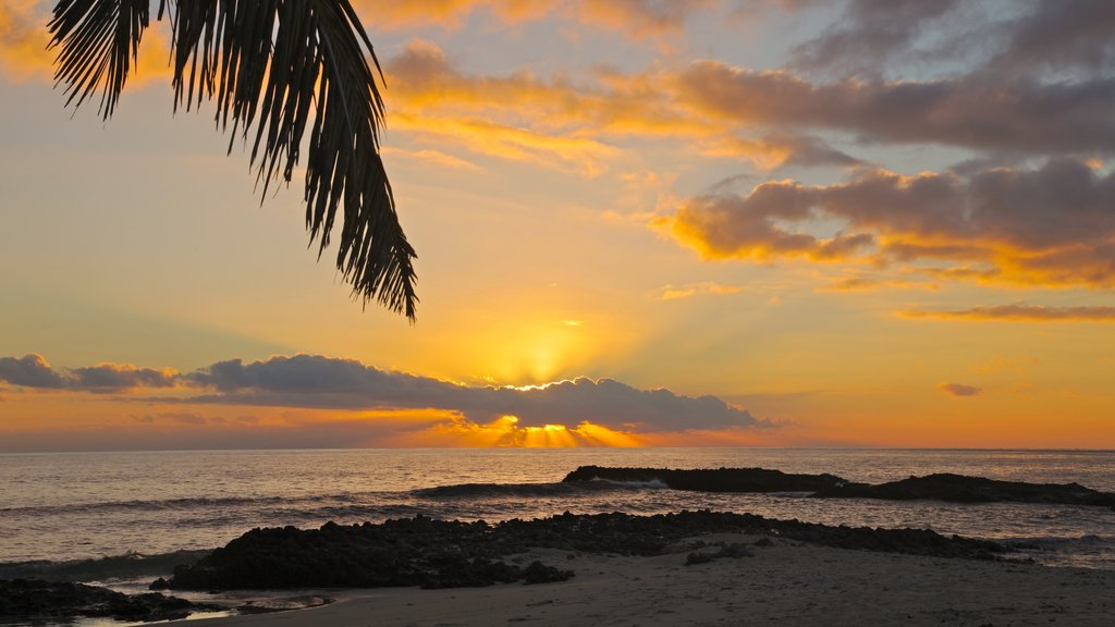 Yasawa Islands showing landscape views, a sunset and a beach