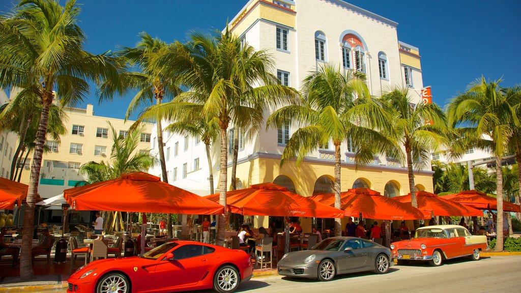 Miami mostrando comer al aire libre, escenas urbanas y un hotel