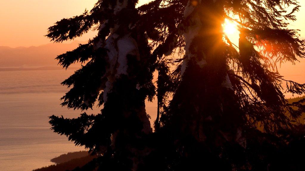 Montaña Grouse ofreciendo una puesta de sol, montañas y vistas de paisajes