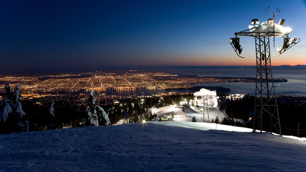 Grouse Mountain which includes snow, night scenes and mountains