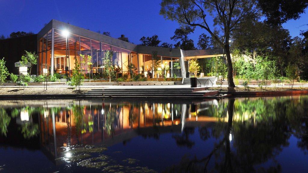 Winnipeg mostrando un lago o abrevadero, escenas nocturnas y arquitectura moderna