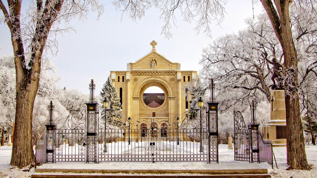 Winnipeg que incluye una iglesia o catedral, nieve y patrimonio de arquitectura