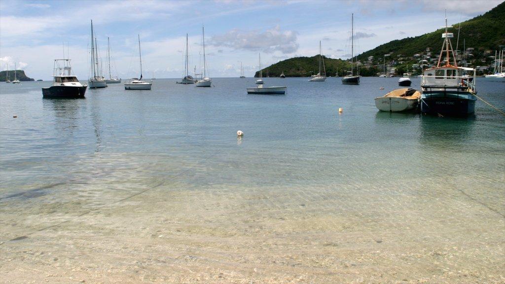 San Vicente y las Granadinas mostrando una bahía o puerto y una playa de arena