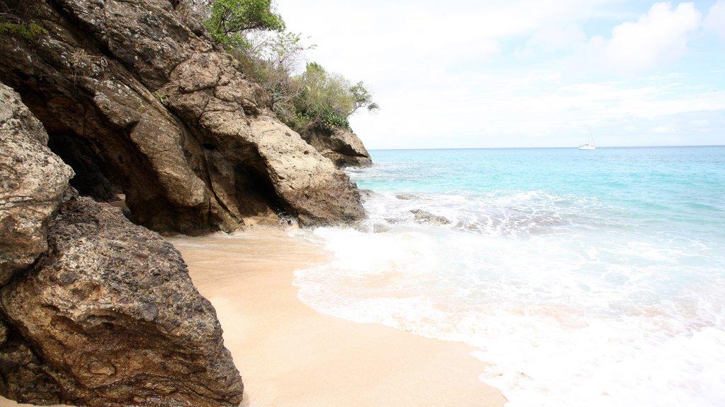 San Vicente y las Granadinas que incluye costa rocosa, vistas generales de la costa y una playa de arena