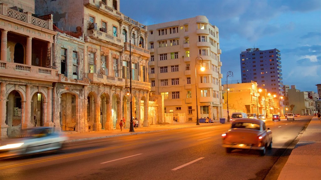 Malecon showing heritage elements and night scenes