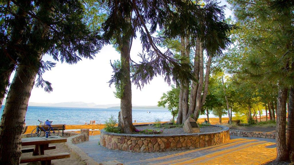 Zona recreativa estatal Kings Beach mostrando un parque, vistas generales de la costa y una puesta de sol
