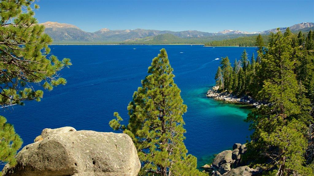 Parque estatal D. L. Bliss ofreciendo un lago o abrevadero, escenas tranquilas y vistas de paisajes