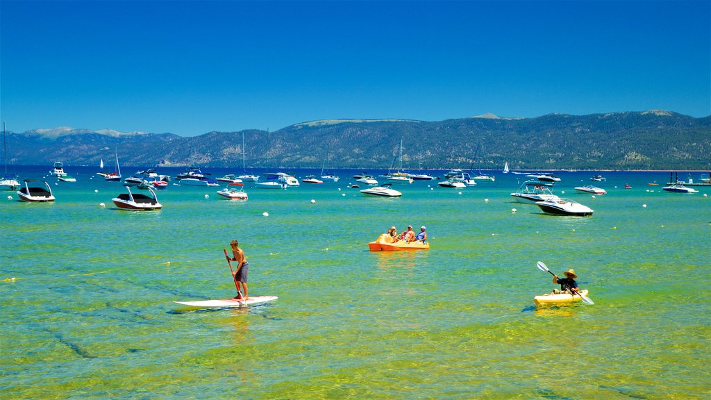 South Lake Tahoe showing a lake or waterhole, a bay or harbor and kayaking or canoeing