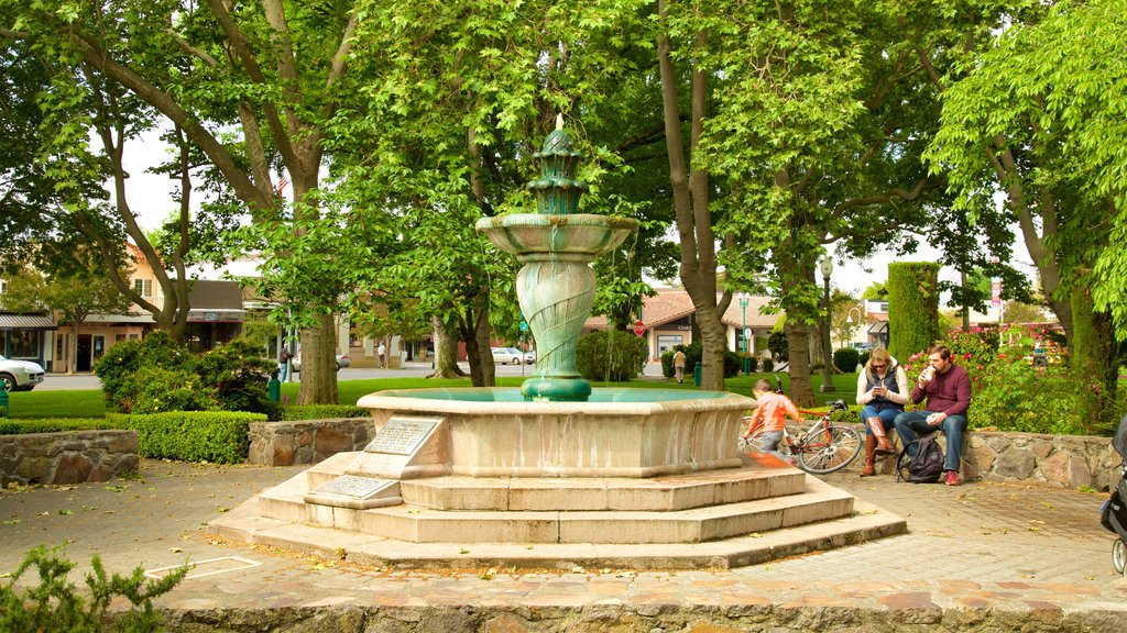 Sonoma Plaza featuring heritage elements, a fountain and a park