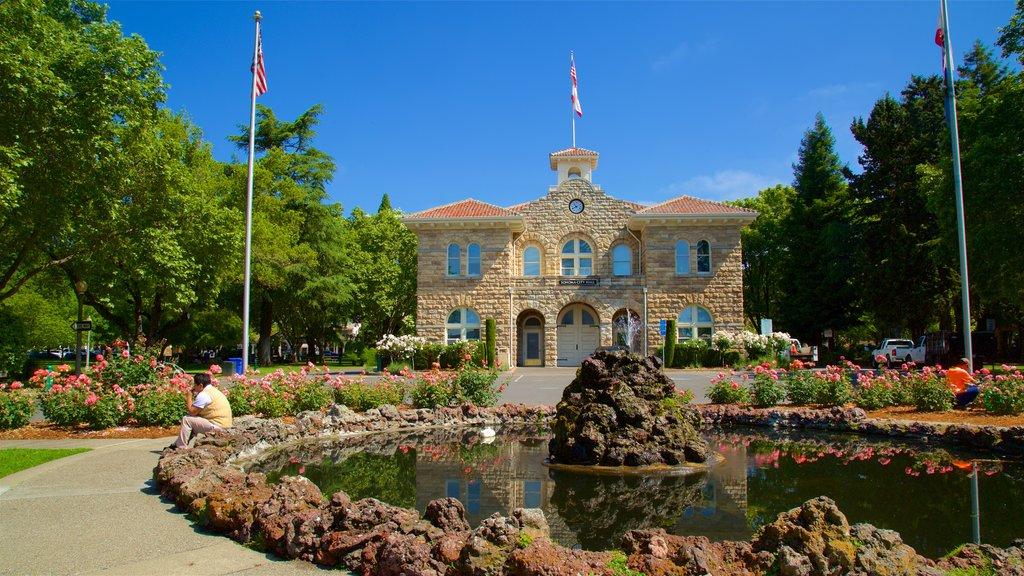 Sonoma Plaza mostrando un jardín, flores y una fuente