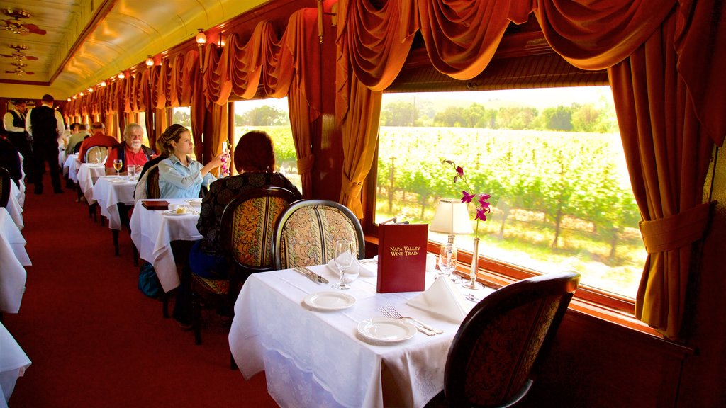 Napa Valley Wine Train showing dining out and interior views as well as a small group of people