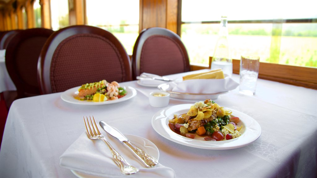 Napa Valley Wine Train which includes food, dining out and interior views