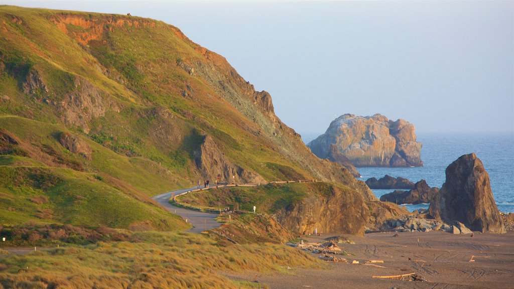 Sonoma Valley ofreciendo costa rocosa y vistas generales de la costa