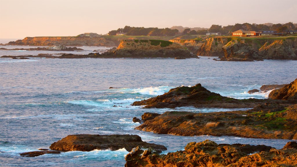 Mendocino which includes rugged coastline, general coastal views and a sunset