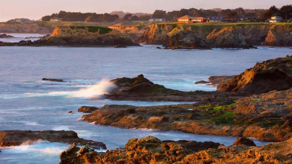Mendocino which includes general coastal views, a sunset and tranquil scenes