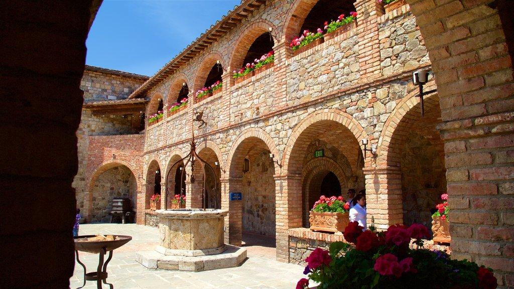 Castello di Amorosa mostrando flores y elementos del patrimonio