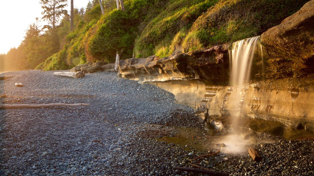 Sooke which includes a sunset and a pebble beach