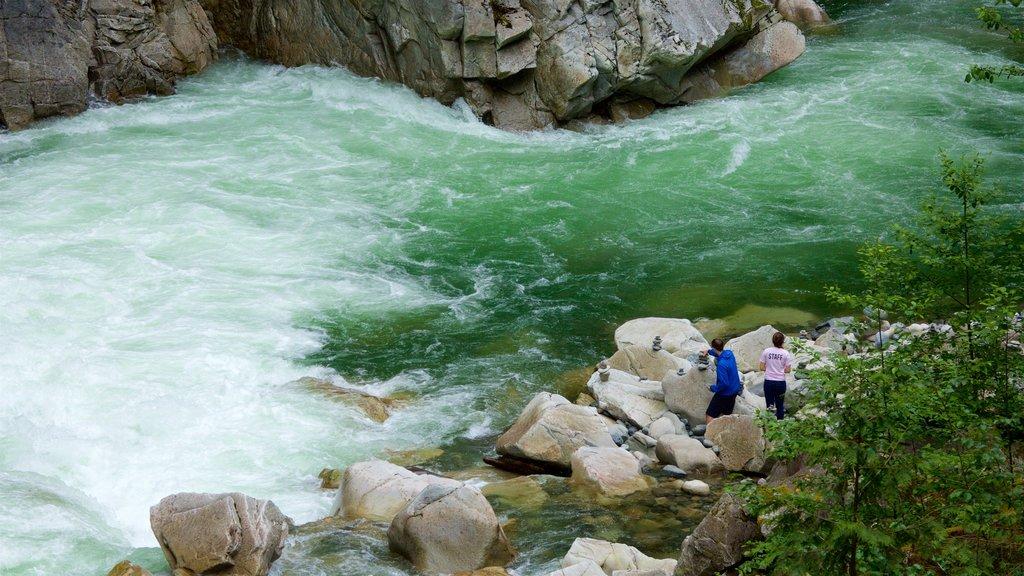 Parque provincial Coquihalla Canyon que incluye rápidos y un río o arroyo y también una pareja