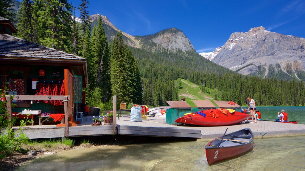 Yoho National Park showing tranquil scenes, mountains and kayaking or canoeing