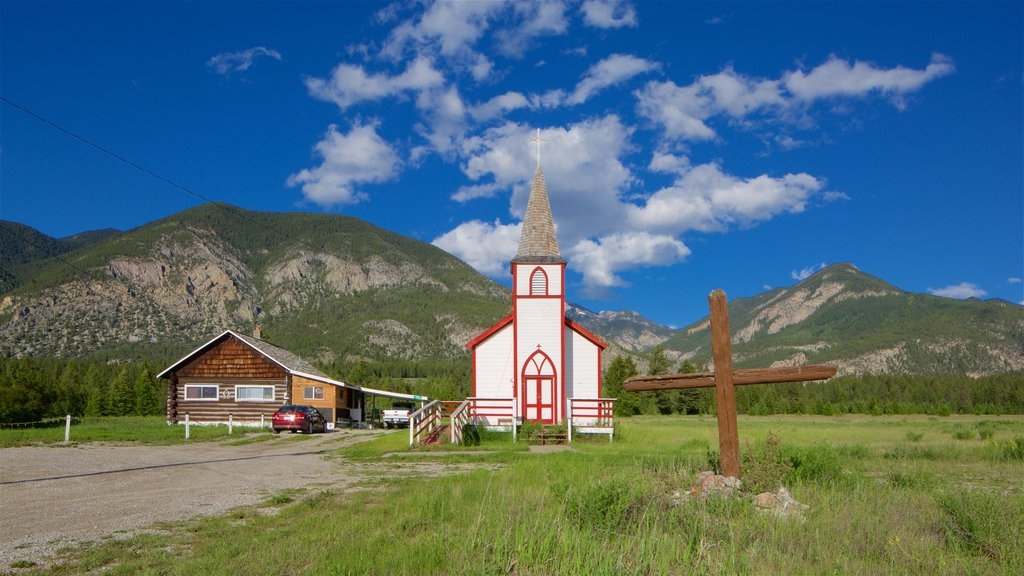 Invermere featuring mountains, tranquil scenes and a church or cathedral