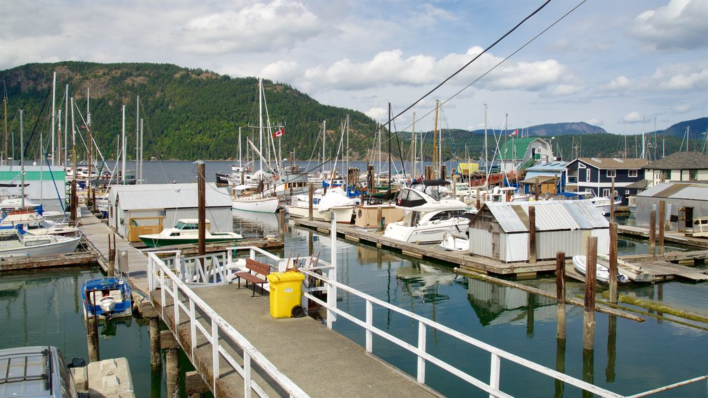 Cowichan Bay showing a bay or harbor