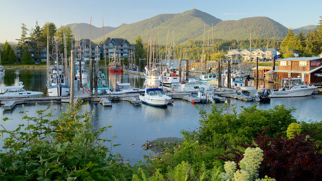 Ucluelet showing a sunset, a bay or harbor and mountains