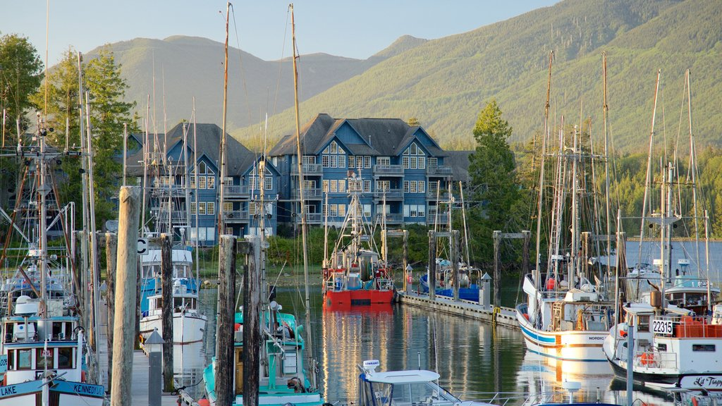 Ucluelet which includes a sunset, a bay or harbor and mountains