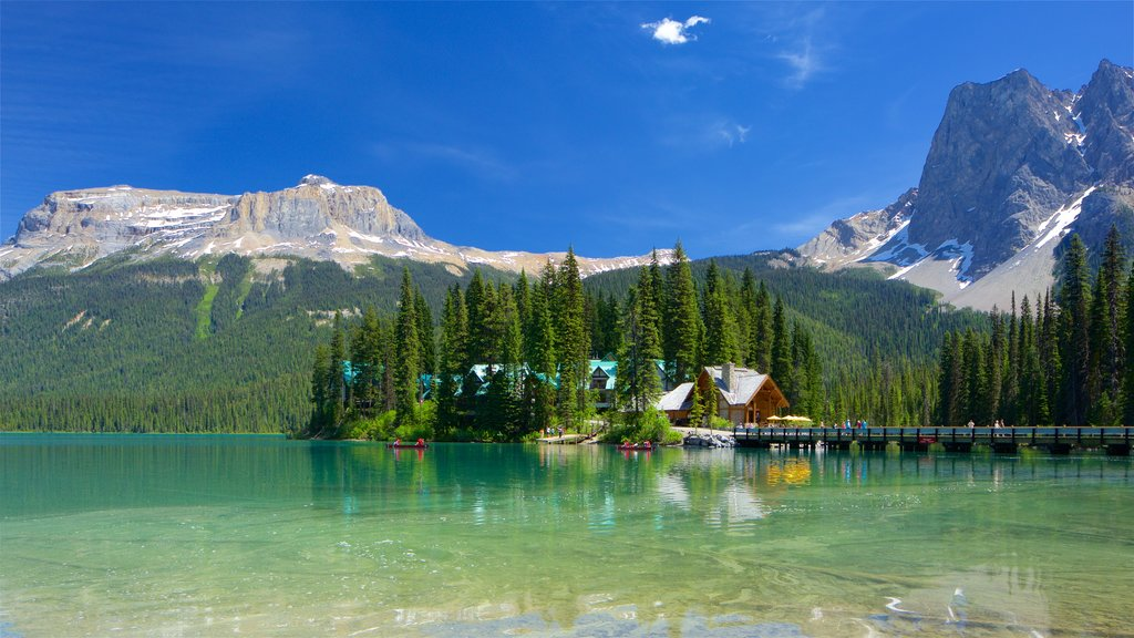 Yoho National Park showing tranquil scenes, a small town or village and a lake or waterhole